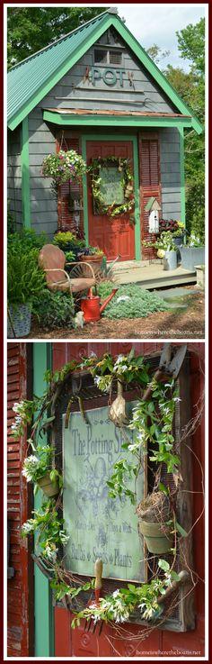 Potting Shed door sign! Hung on hardware cloth frame with vintage garden tools, pots, grapevine and honeysuckle!   homeiswheretheboatis.net #garden #spring