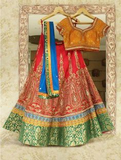 Red And Green Silk Lehenga Choli With Embroidery Work