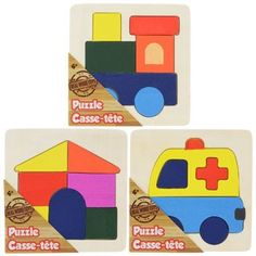 Wooden Basic Shapes Puzzles, 7 pc. (Set of 3)