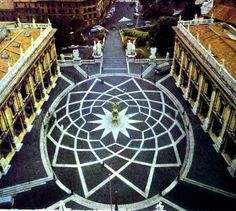 Piazza del Campidoglio on Capitoline Hill in Rome. Yet another example of Michelangelos genius. A wonderful example of sacred geometry in architecture. Rome is my favorite city on this planet. favorite-places-spaces
