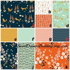 Custom Baby Bedding - Navy Oange  Pink Gold- Fox Floral woodland changing pad  sheet crib skirt rail guard changing cover quilt