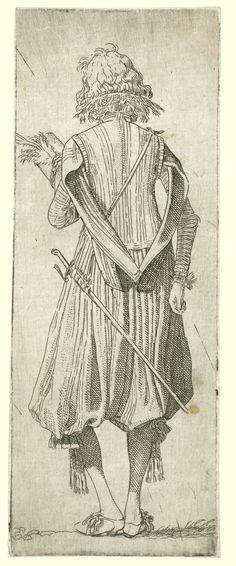 Willem Pietersz. Buytewech   Noblemen from Different Countries, Willem Pietersz. Buytewech, 1615   Schots edelman, op de rug gezien. Gekleed in wambuis met losse mouwen die op de rug bij elkaar worden gehouden en een poffende broek tot aan de knieën. Kousebanden met strikken. Hoed in de hand. Proefdruk voor de eerste staat met vermelding van de titel. Prent nummer 6 uit een serie van 7 kostuumprenten.