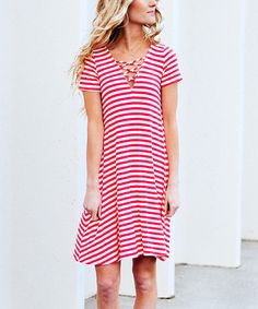 Coral Stripe Criss-Cross Dress