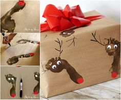 Christmas Footprint Wrapping Paper. I am so doing this.
