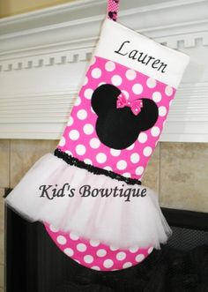 Christmas Stocking Disney Minnie Mouse by kidsbowtique on Etsy Disney Christmas Stockings, Minnie Mouse Christmas, Xmas Stockings, Pink Christmas, Family Christmas, Christmas Ideas, Christmas Tree, Mouse Crafts, Peanuts Christmas