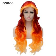"ccutoo 28"" Female Long Wavy Ombre Color Synthetic Hair High Temperature Fiber Cosplay Costume Wigs Perrque For Women Girl Party #Affiliate"