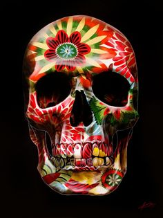 70s Floral Painted Skull by Gerrard King