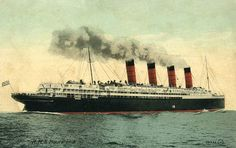 This is the Mauretania, a Cunard ship sailing from Southampton to New York. It was large with seven decks and four massive funnels. It was also the fastest ship across the Atlantic, a blessing for my heroine, Elizabeth, who suffers badly from seasickness during the journey. Cunard Ships, Rms Mauretania, The Empress, Southampton, Titanic, Blessing, Decks, Transportation, Sailing