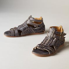 ANCIENT ROADS SANDALS--Like a page from history, each pair of sandals features a one-of-a-kind, hand-finished patina with studded details and a sumptuously soft footbed. Leather. By BedStü. Imported. Whole sizes 6 to 10, 11.