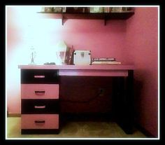 My dad restored an old desk of his for my daughter, using pink and black paint (to match her room).  So creatively done, I had to share.  It looks like a brand new desk!  Enjoy =)