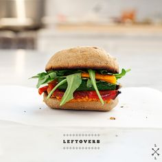 Grilled Veggie Sandwich - my adapted ideas & shopping list: roast instead veggies such as zucchini strips, colorful bell pepper slices, portobello cap or add a large slice of a meaty tomato at end, lettuce, a hint of balsamic, whole grain bun, serve with baked sweet potato wedges or white potato wedges - from love and lemons