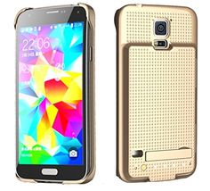 Samsung Galaxy S5 Battery Case 3500mah Power Case with Media Kickstand By Phonechargercase® (Gold)