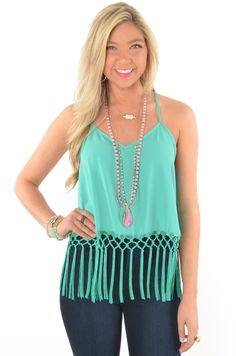 Teal Crop Top with Braided and Tassel Fringe Trim | Deep South Pout