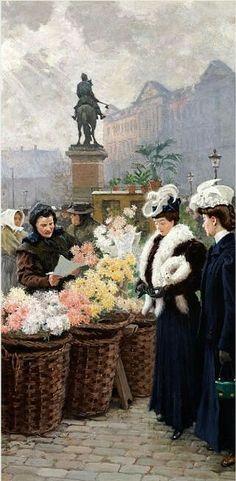 Paul Fischer To elegante damer køber blomster på Højbro Plads 86x40cm