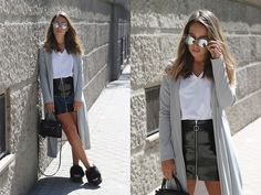Get this look: http://lb.nu/look/8851313  More looks by Claudia Villanueva: http://lb.nu/ctrendencies  Items in this look:  Zaful Sunglasses, Wear All Coat, Zara T Shirt, Zara Skirt, H&M Bag, Asos Sandals   #casual #chic #street #dustercoat #vinylskirt #transition #outfit #look #style