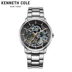 7cf360f8529 Kenneth Cole Mens relógios de Pulso Mecânicos KC15104004 Prata Pulseira  Pulseira de Aço Inoxidável Homens Relógios de Luxo Da Marca À Prova D  Água  -