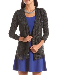 Lace Back Lurex Cardigan: Charlotte Russe