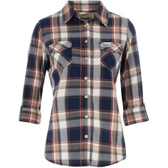 52ecbdcae Blue large check shirt ($27) ❤ liked on Polyvore featuring tops, shirts,