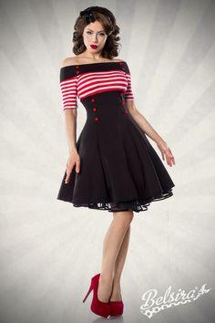 Vintage-Kleid Schulterfreies Vintage-Kleid inhochwertige Qualität von BELSIRA. Das kurzärmelige Kleid mit gestreiften Oberteil und ausgestellten Rockteil ist dekorativ mit Knöpfen verziert. Die Gesamtlänge in Gr. XS beträgt ca. 83 cm. Das ...