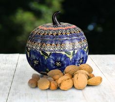 Pumpkin container. Artistic decoration number 148A. Hand-painted and signed by the artist.