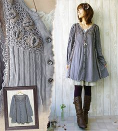 Mori girl---Such a pretty shade of blue and I love the pin tucks. This looks so comfy!