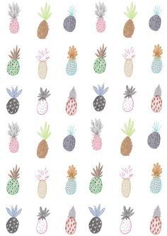 I love the quirky original illustrations of the pineapples. I like the idea of turning a group of different illustrations into a pattern, it would make a visually interesting background to add simple typography phrases to. Pattern Art, Pattern Design, Art Pariétal, Pineapple Print, Pineapple Pattern, Pineapple Ideas, Pineapple Sketch, The Design Files, Pretty Patterns