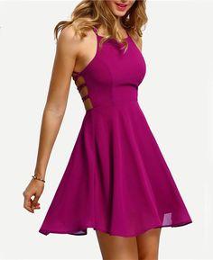 adb588c3598 Cross Lace Up Backless Spaghetti Strap Short Skater Dress