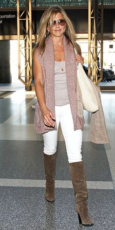 Jennifer Aniston - beige tank top, white skinny pants, tan boots, pink shawl