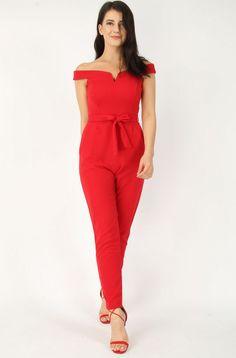 V-Bar Bardot Red Jumpsuit