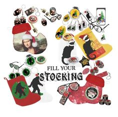 Christmas Stocking Stuffers by gravityx9 on #Polyvore featuring Stock up for Next Christmas!    #Gravityx9 #Ilovexmas #christmas #zazzle #ChristmasStocking #StockingStuffers #christmasGifts #Spoofingthearts #MonaLisa #LeChatNoir #squatchme #fillyourstocking #holidaydecor