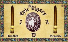EPIC® CIGARS SHAPE CHRONICLE: I+A+W. EPIC® CIGARS PANTHÉE CHRONICLE: EPIC PIRAMIDE. EPIC® CIGARS REGISTERED IN DOMINICAN REPUBLIC,THE UNIQUE, AUTHENTIC, ORIGINAL AND LEGITIMATE EPIC® CIGARS BRAND, DR.