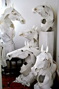 Paper Horse Masks for Hermès, 2011 by Anna Wili. Materials: Cotton paper, ink, cotton thread, silk, copper pipe internals with hard hat