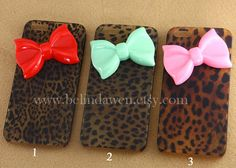 IPhone 5 case, Leopard Decal iPhone 5 Hard Case, cheetah iphone 5 case with pastel bow case