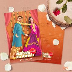 Bollywood Themed Illustrated Wedding Invitation It's been a long due to introduce bollywood theme based wedding card design from our side. Interestingly one of the coup. Illustrated Wedding Invitations, Indian Wedding Invitation Cards, Wedding Invitation Card Design, Creative Wedding Invitations, Invite, Marriage Invitation Card, Marriage Cards, Wedding Card Design Indian, Hindu Wedding Cards