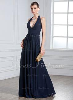 A-Line/Princess Halter Floor-Length Chiffon Evening Dress With Ruffle (017020328) - DressFirst  Misschien net te sexy... maar vind 'm op een of andere manier echt mooi...