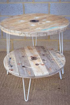 Cable Reel Dining Table With Hairpin Legs