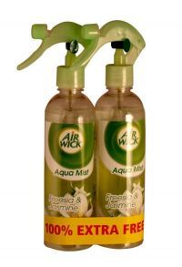 Air Wick Aquamist 2 X 345ml Freesia And Jasmine   Introducing an Air freshener designed to release the freshness of nature into your home! Thanks to its propellant-free trigger, Aqua Mist delivers Air Wick's Aqua Essences more naturally.
