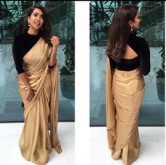 golden saree with black blouse designs Black Blouse Designs, Saree Blouse Neck Designs, Black Saree Blouse, Black Saree Plain, Full Sleeves Blouse Designs, Gold Blouse, Blouse Patterns, Golden Saree, Satin Saree