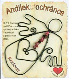Anděl z drátu s kamenem Rodonit Washer Necklace, Horoscope
