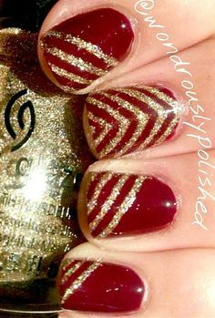 red and gold christmas nails - Google Search