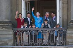 The royal family of Denmark during the Queen's 70th birthday on April 16, 2010. From left to right: the Crown Princess, Prince Felix, the Crown Prince, Prince Christian, the Queen, Prince Nikolai, the Prince Consort, Prince Joachim and Princess Isabella