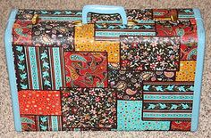 vintage suitcase with mod podge