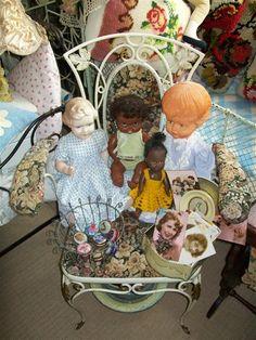 Gobelin brocante chair & dolls all for sale by MADAME CURIOKA!