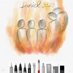 #verseoftheday #bookofdaniel 3:25 #biblejournaling #biblejournalcommunity #biblejournalingcommunity #sketches #sketchesforipad #bible #faith