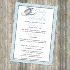 watering can baby sprinkle invitation by freshlysqueezedcards, $13.00