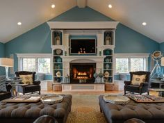 A fireplace is the perfect centerpiece to a room! http://blog.juliabfee.com/2014/11/keep-the-home-fires-burning/