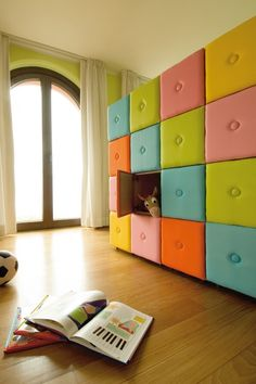 This padded modular unit that incorporates art and function is a clever storage idea for kid's room. Toy Room Storage, Cube Storage, Kids Storage, Storage Ideas, Storage Units, Wall Storage, Storage Design, Storage Solutions, Organization Ideas