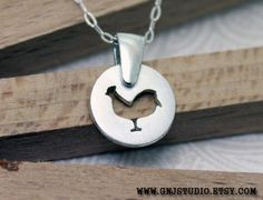 Sterling Silver Chicken Necklace  Handcrafted Silver by GnJStudio, $46.00