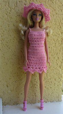 Crochet Dolls Clothes Passion Dolls: Miss Barbie french pattern, Crochet Doll Dress, Crochet Barbie Clothes, Doll Clothes Barbie, Barbie Dress, Barbie Doll, Crochet Skirts, Ag Dolls, Pink Dress, Barbie Clothes Patterns