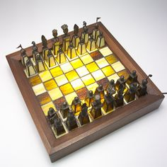 193: Artisanal stained glass chess set of chocolate and
